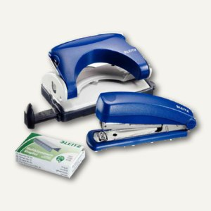 LEITZ Mini-Heftgerät und Locher, bis 12 Blatt, blau, 5507-60-35