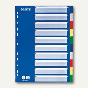 LEITZ Kunststoff-Register, blanko 10-teilig, DIN A4, PP, mehrfarbig, 1256-60-00