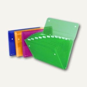 Rexel Fächermappe ICE, DIN A4, 13 Fächer, PP, farbig sortiert, 10 Stück, 2102034