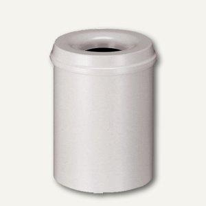 Helit Stahl-Papierkorb mit Löschkopf, 15 Liter, lichtgrau, H2515482