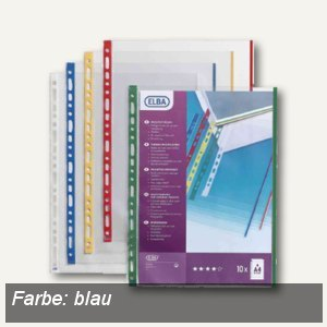 Elba Prospekthüllen A4, farbiger Rand blau, PP, 10 Stück, 100206873