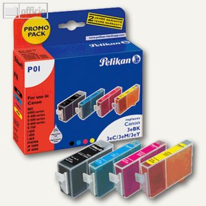 Pelikan Promo Pack P01 - VE 4 Patronen CMYK für Canon BCI-3E, 353474