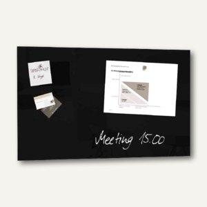 "Sigel Glas-Magnettafel ""artverum"", 780 x 480 mm, 2 Magnete, schwarz, GL130"