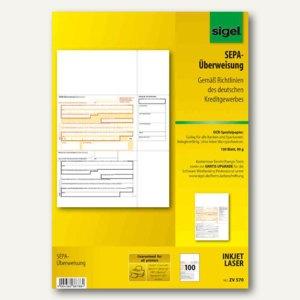 """Sigel Bankformular """"PC-SEPA-Überweisung"""", DIN A4, 90g/qm, 100 Blatt, ZV570"""