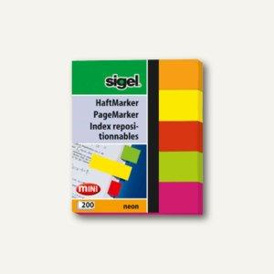 Sigel Haftmarker Neon Mini, 50 x 12 mm, farbig sortiert, 5 x 40 Blatt, HN655