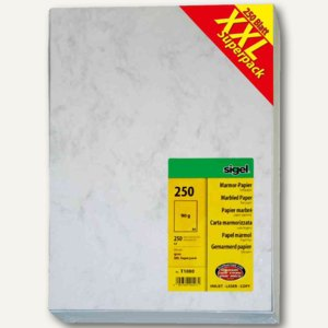 "Sigel Designpapier Marmor, DIN A4, 90 g/m², grau, ""XXLSuperpack"", 250 Bl., T1080"