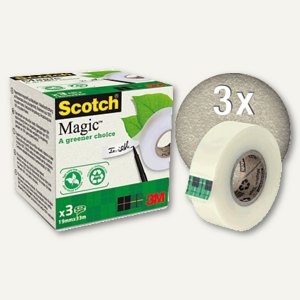 Scotch Klebeband Magic 900, 19 mm x 33 m, transparent/matt, 3er Pack, 90019333