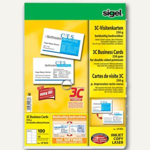 Sigel PC-Visitenkarten 3C, 85x55 mm, 250 g/qm, hochweiß, 100 Stück, LP853