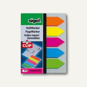 Sigel Haftmarker Film Pfeil mit Clip, 50 x 12 mm, sortiert, 5 x 25 Blatt, HN611
