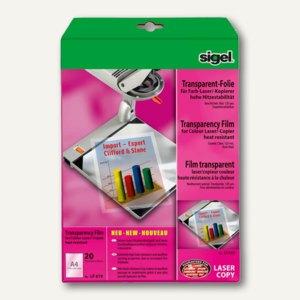 Sigel Farb-Laserdrucker-/Kopier-Folie, DIN A4, transparent, 20 Blatt, LF619