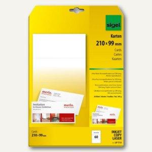 Sigel PC-Korrespondenz-Karten, DIN lang, Karton 185 g/qm, weiß, 60 St, LP713