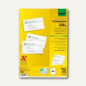 Sigel PC-Visitenkarten 3C, 85x55 mm, 250 g/qm, hochweiß, 800 Stück, LP802