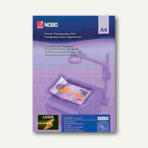 Nobo Farb-Laserdrucker-Folie DIN A4, PP, 120 my, glasklar, 50 Stück, 33638782