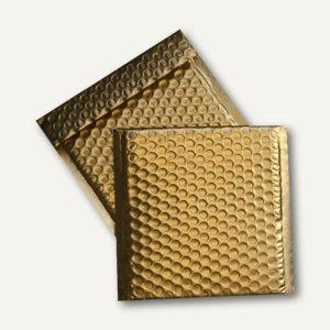 CD/DVD Geschenk-Luftpolstertaschen 160x165 mm, haftkl., gold mattiert, 200 St.