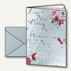 """Sigel Weihnachtskarten """"Silver Star"""" inkl. Silber-Umschläge, A6, 10 St., DS362"""