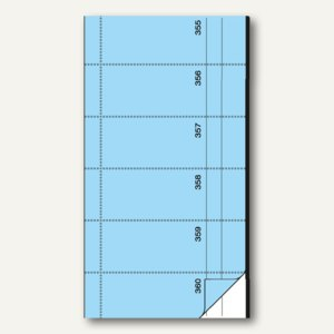 Bonbuch, 360 Abrisse, selbstdurchschreibend, 105x200mm, blau, 2x60 Blatt, BO095