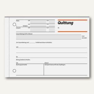 "sigel Formularbuch ""Quittung"", DIN A6 quer, mit MwSt.-Nachweis, 100 Blatt, RC021"