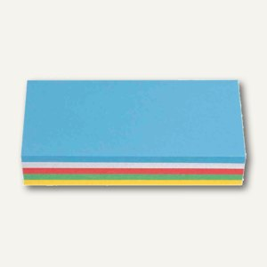 Nobo Moderationskarte Rechteck, 130 g/qm, 95x205mm, sortiert, 250 Stück, 1901287