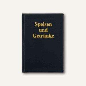 Sigel Speisekarten-Mappe, DIN A4, 6 Hüllen, mit Goldprägung, schwarz, SM104