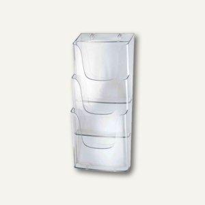 Sigel Wand-Prospekthalter, DIN lang, 3 Fächer, Acryl, glasklar, LH137