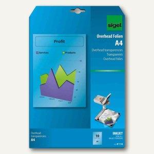 Sigel Inkjet-Folie, DIN A4, 100 my, klar, transparent, 50 Blatt, IF210