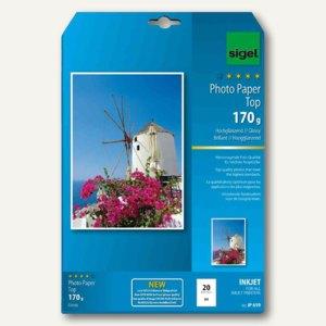 """Sigel Fotopapier """"Top"""", DIN A4, hochglänzend, 125 g/qm, 25 Blatt, IP663"""