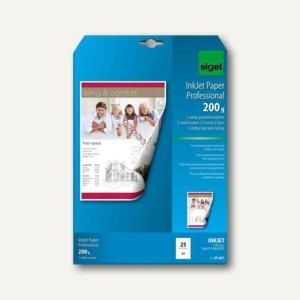 Sigel Inkjet-Papier, DIN A4, 200 g/qm, matt, hochweiß, 25 Blatt, IP681