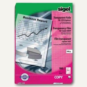 Sigel Schwarz/Weiß Kopier-Folie, DIN A4, transparent, klar, 100 Blatt, KF545