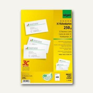 Sigel PC-Visitenkarten, 85x55 mm, Karton 250 g/qm, hochweiß, 400 Stück, LP801