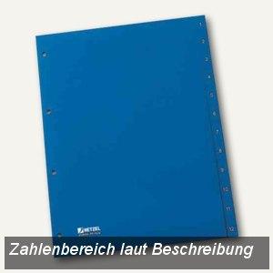 Hetzel Kunststoff-Register, Zahlen, DIN A4, 1-10, PP, blau, 25275431