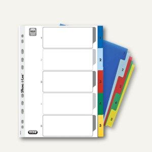 Elba Kunststoff-Register, Zahlen, DIN A4, 5-teilig, farbige Taben, 400013947