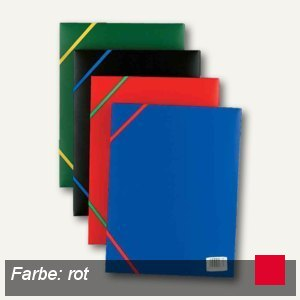 Elba Eckspannermappe Standard, DIN A4, 3 Klappen, PP, rot, 100201169