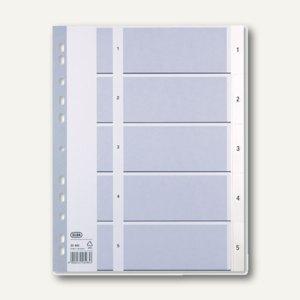 Elba Kunststoff-Register, DIN A4, Zahlen 1-5, PP grau/weiß, 400013946