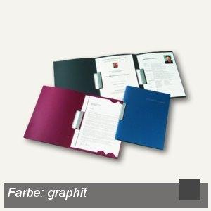 Bewerbungsmappe Clip L, 3-tlg, A4, Karton, 2 Clips, graphit, 15St., 22241095