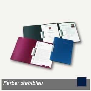 Bewerbungsmappe Clip L, 3-tlg, A4, Karton, 2 Clips, stahlblau, 15St., 22241016