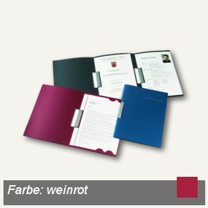 Bewerbungsmappe Clip L, 3-tlg, A4, 320g/m², Prägung, weinrot, 15St., 22241026