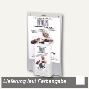 dataplus Wandprospekthalter Lang DIN mit A4 Tasche, weiß, 20 Stück, 62081070