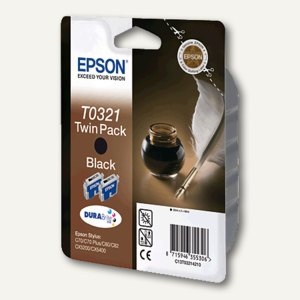 Epson Tintenpatronen T0321, Twinpack, schwarz, 64 ml, C13T03214210