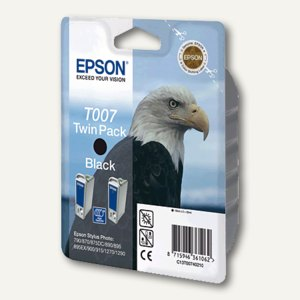 Epson Tintenpatrone, T007 Twinpack, schwarz, C13T00740210