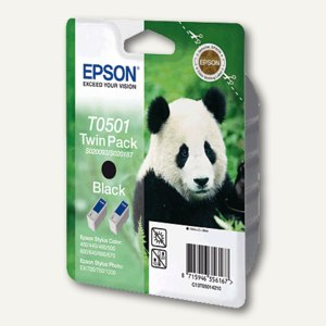 Epson Tintenpatronen T0501, schwarz, Doppelpack, C13T05014210