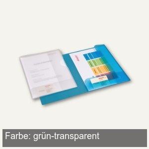 Präsent-Mappe A4, PP, 2 Einschlagklappen, 30 Bl., grün-transparent, 25 St.