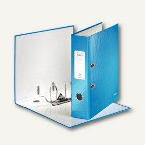 LEITZ Ordner WOW, 180 Grad, DIN A4, 80 mm, blau-metallic, 1005-00-36