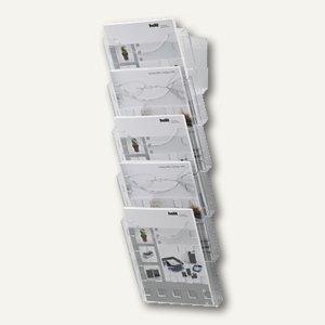 Helit Prospekt-Wandhalter, 5x DIN A4 hoch, glasklar, 5er-Set, H6103102
