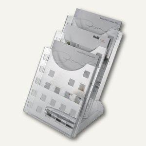Helit Tischprospektständer, 3x DIN A4 hoch, glasklar, H6102702