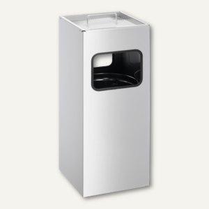 Durable Papierkorb METALL, mit Ascher, 17 Liter, silber, 3331-23