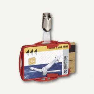 Ausweishalter mit Clip, 87 x 54 mm, offen, doppelt, rot, 25 Stück, 8218-03