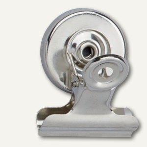 MAUL Papier-/Brief-Klemmer mit Magnet, 30 mm, nickel, 2 Stück, 2183096