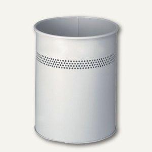 Durable Papierkorb, Metall, 15 Liter, perforiert, Ø 26 cm, lichtgrau, 330010