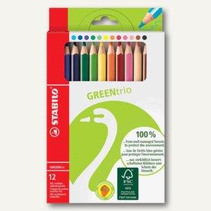 STABILO Buntstifte GREENtrio, dick, dreikant, 12er Karton-Etui, 6203/12