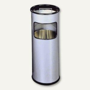 Durable Papierkorb, 17l, Metall, rund, mit Aschenbechereinsatz, silber, 333023